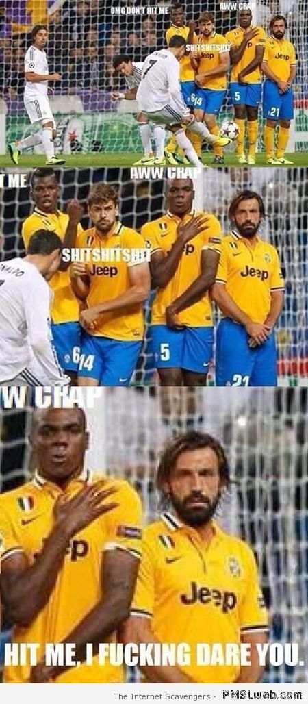Pirlo is not scared meme – Funny Football pictures at PMSLweb.com