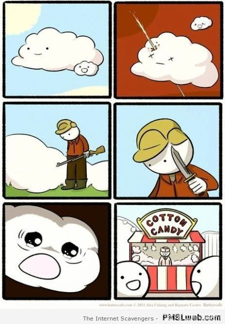 The sad story about cotton candy funny cartoon at PMSLweb.com