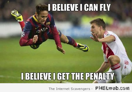 Flying Neymar football meme at PMSLweb.com