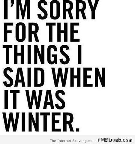 Funny winter quote at PMSLweb.com
