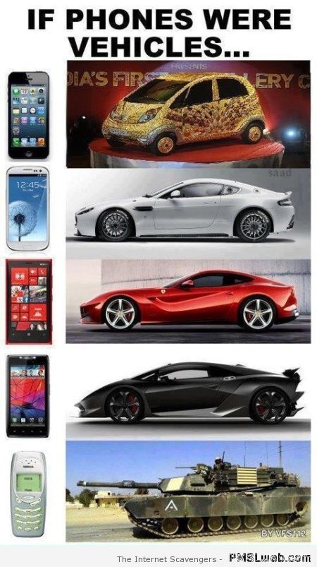 If phones were vehicles – Weekend giggles at PMSLweb.com