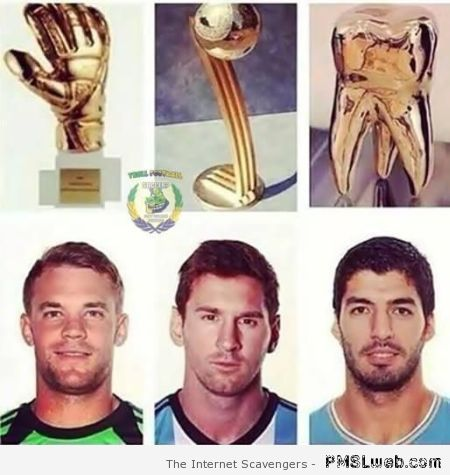 Neuer Messi and Suarez funny trophy at PMSLweb.com