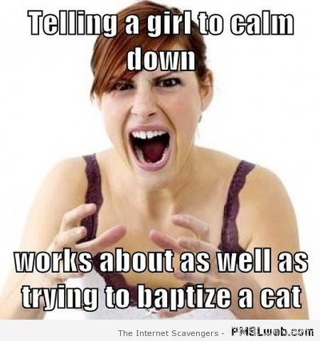 Telling a girl to calm down meme at PMSLweb.com