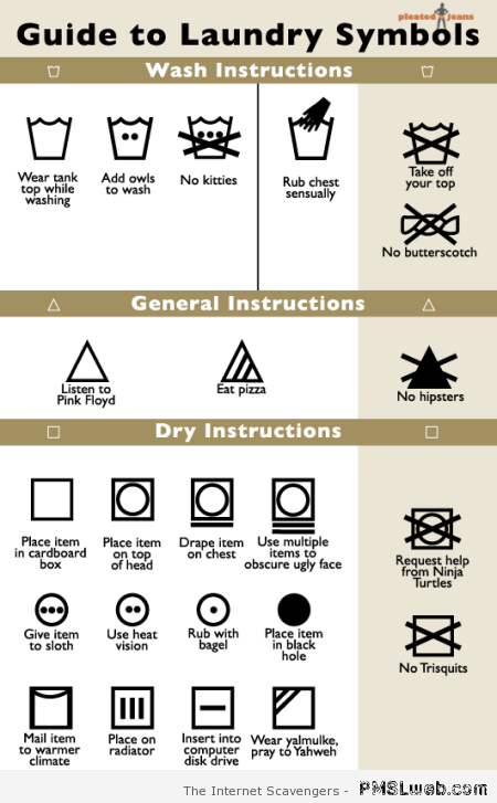 Funny guide to laundry symbols at PMSLweb.com