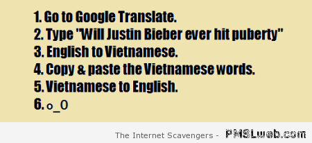 Funny Justin Bieber Google translate at PMSLweb.com
