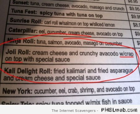 Funny restaurant menu typo – Twisted Thursday at PMSLweb.com