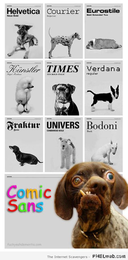 Funny if fonts were dogs at PMSLweb.com