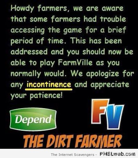 Farmville apology fail – Hump day laughter at PMSLweb.com