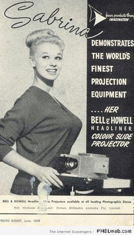 Funny vintage projector advert at PMSLweb.com