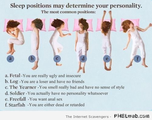 Sleeping positions reveal your personality humor at PMSLweb.com