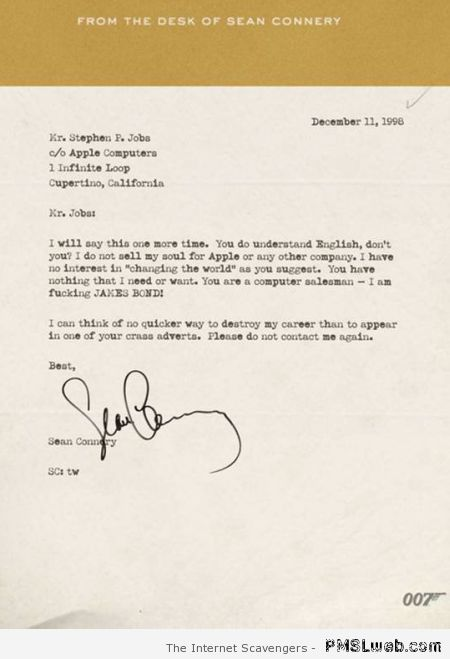 Funny letter from Sean Connery to Apple at PMSLweb.com