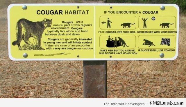Cougar habitat funny sign at PMSLweb.com