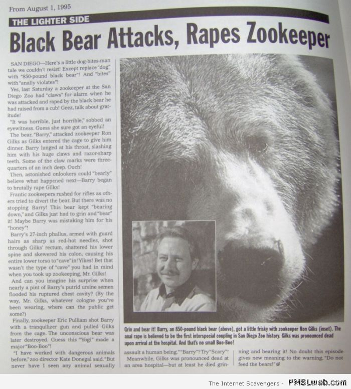Bear rapes zookeeper at PMSLweb.com