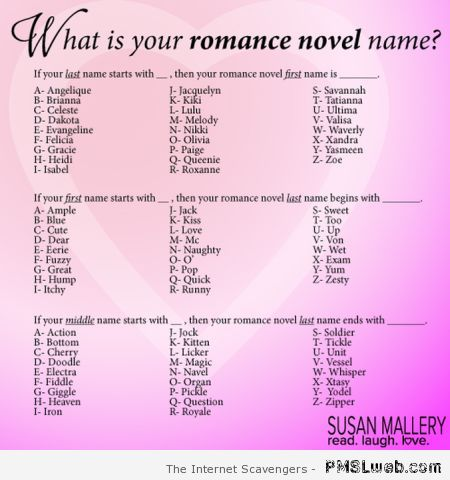 Your romance novel name – Funny Wednesday images at PMSLweb.com