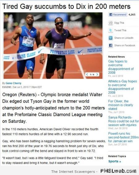 Funny gay news title at PMSLweb.com