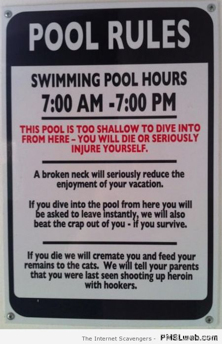 Funny pool rules – Hilarious Wednesday at PMSLweb.com