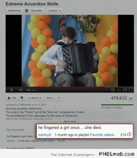 Funny accordion skills youtube comment – Funny Wednesday collection at PMSLweb.com