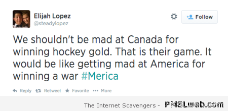 Hockey is to Canada what war is to America at PMSLweb.com