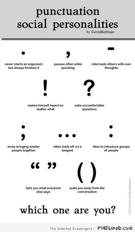 Punctuation social personalities – Funny Thursday at PMSLweb.com