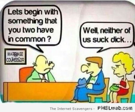 Funny marriage counselor joke at PMSLweb.com