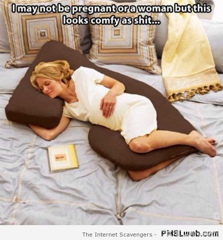 Funny pregnancy cushion caption – Tuesday laughter at PMSLweb.com