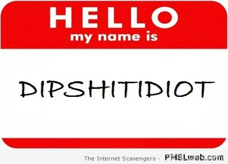 My name is dipshitidiot at PMSLweb.com
