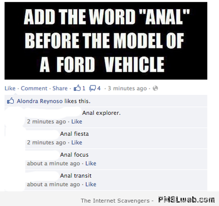 Add anal to Ford vehicle names – Hilarious Wednesday at PMSLweb.com