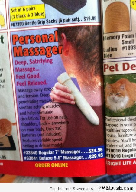 Funny personal massager advert at PMSLweb.com