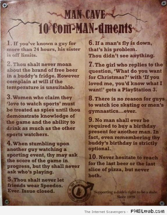 Mancave commandments – Hilarious Wednesday at PMSLweb.com