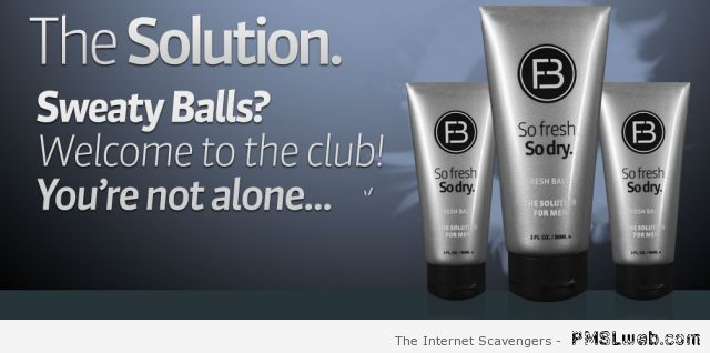 Real product for sweaty balls at PMSLweb.com