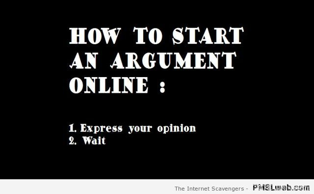 How to start an argument online at PMSLweb.com