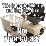 Motorized shopping cart meme at PMSLweb.com