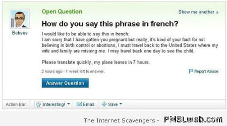 Funny French Yahoo question at PMSLweb.com