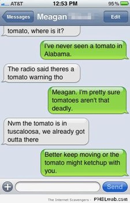 Tomato warning iPhone fail at PMSLweb.com