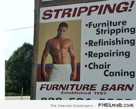 Funny stripping advert at PMSLweb.com