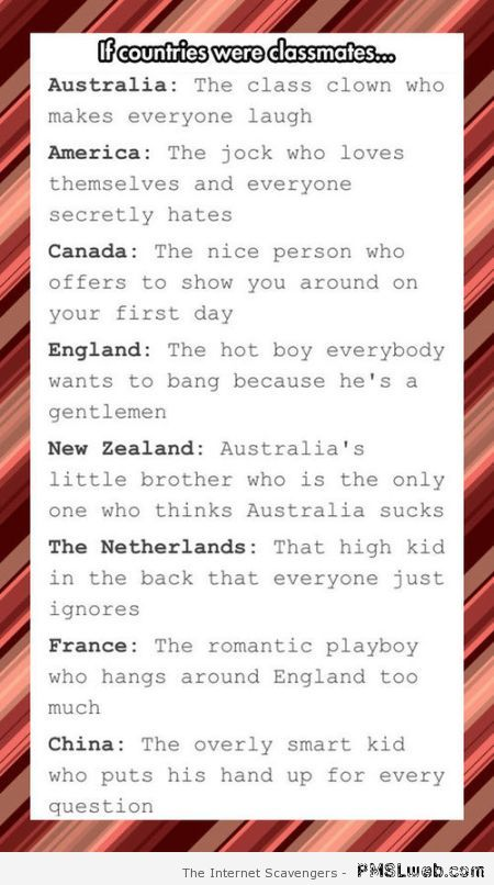 If countries were classmates – Funny Monday images at PMSLweb.com
