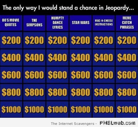 The only way I would stand a chance in Jeopardy – Funny TGIF pics at PMSLweb.com