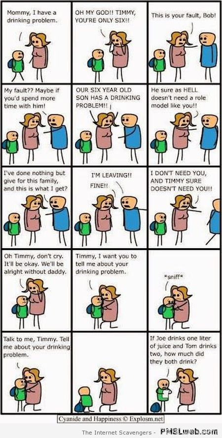 Funny drinking problem cartoon at PMSLweb.com