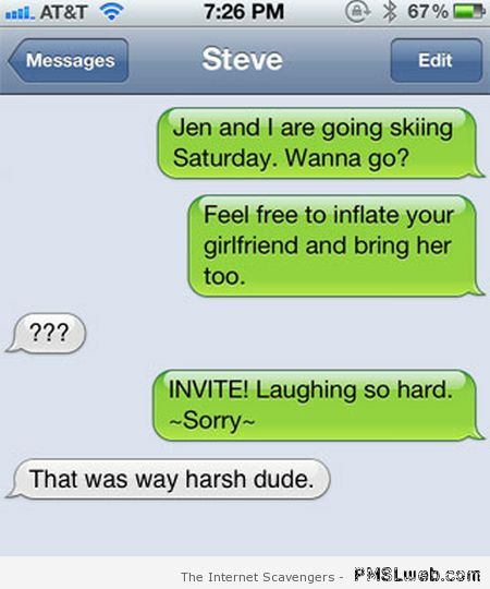 Inflate your girlfriend autocorrect fail – Funny Valentine Day pictures at PMSLweb.com