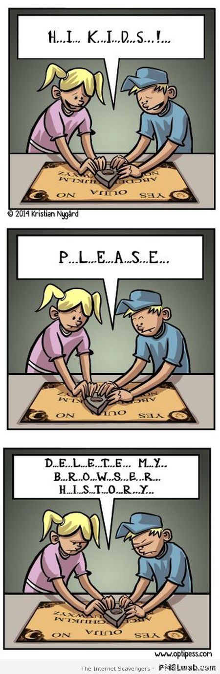 Funny modern Ouija cartoon at PMSLweb.com