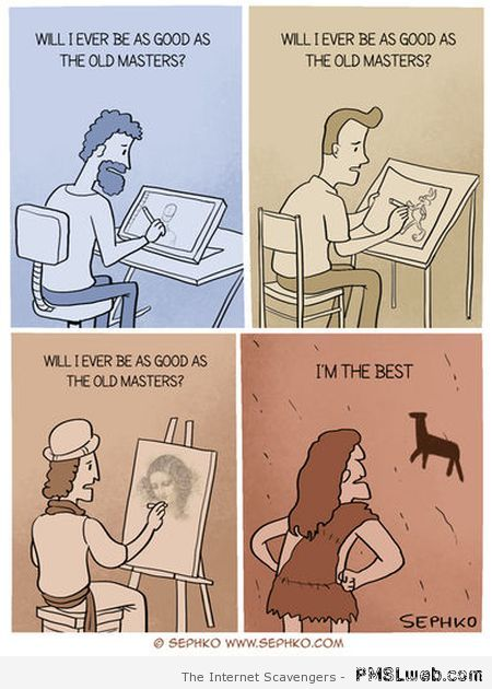 Painting through the ages humor at PMSLweb.com