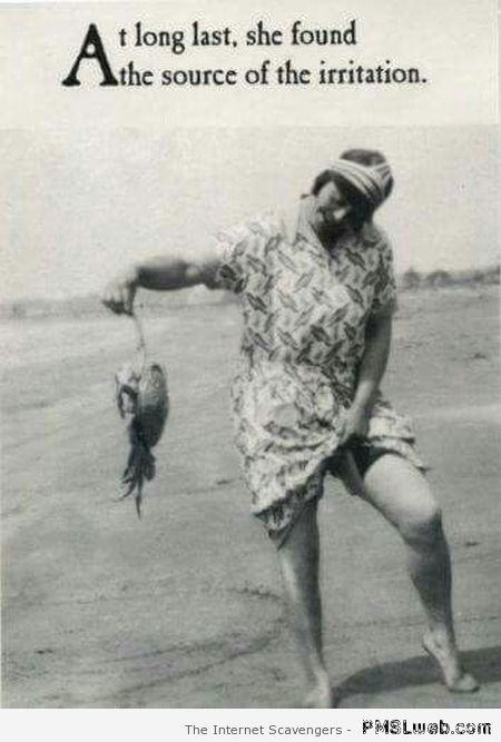 Vintage girl with crabs humor at PMSLweb.com