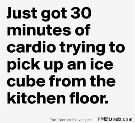 Cardio picking up an ice cube humor at PMSLweb.com