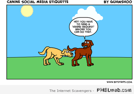 Canine social media cartoon at PMSLweb.com