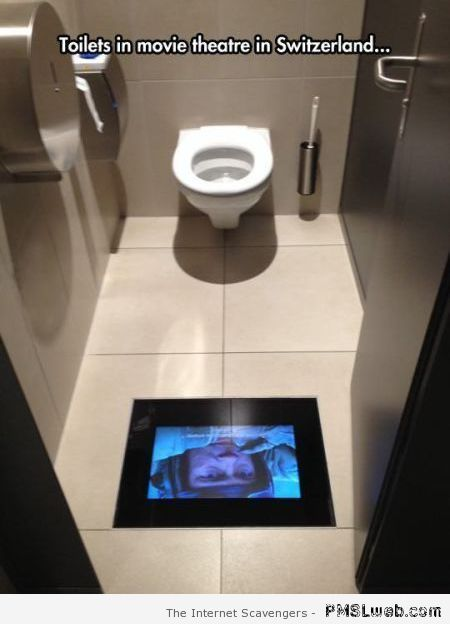 Switzerland: toilets in movie theatre at PMSLweb.com