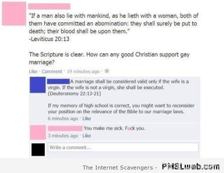 Funny bible quoting on Facebook at PMSLweb.com