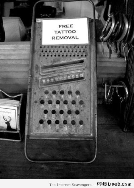 Funny free tattoo removal at PMSLweb.com