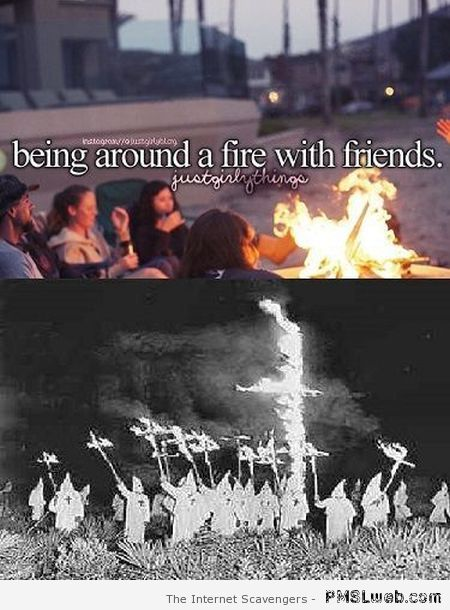 Being around a fire with friends humor at PMSLweb.com