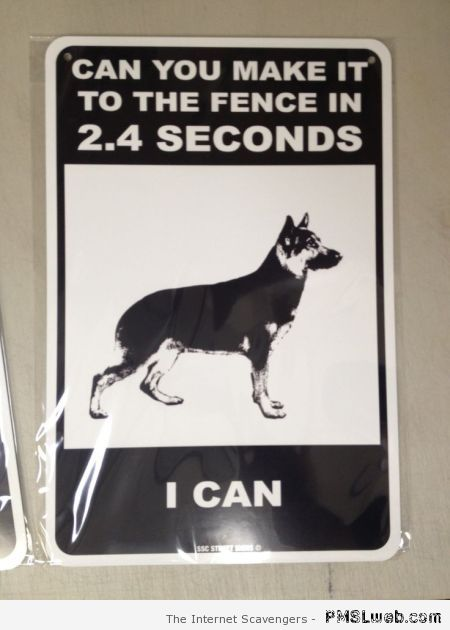 Can you make it to the fence funny dog sign at PMSLweb.com