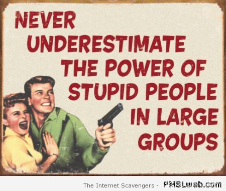 Stupid people in large groups quote at PMSLweb.com